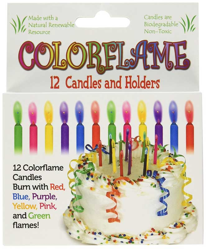 Colorflame 12 Candles And Holders
