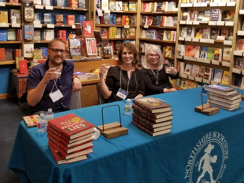 Cheers!  Group book signing with Peter Swanson, Ariel Lawhon & Robin Oliveira